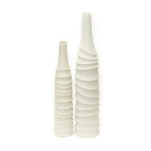 Ribbed White Vase