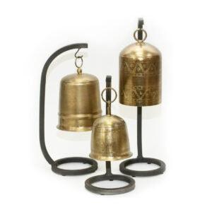 Antique Brass Bells on Stands