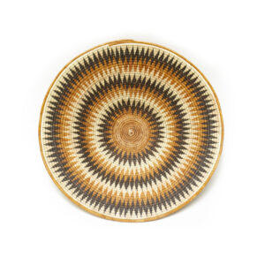 Orange and Brown Basket with Repeated Pattern