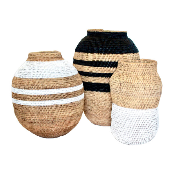 Striped Standing Baskets