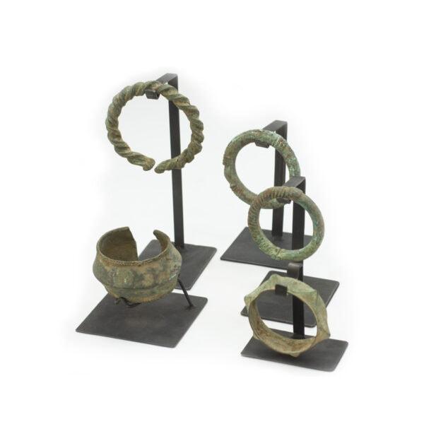African Brass Bracelets on Custom Stands
