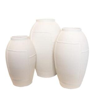 White Lined Jar Vase