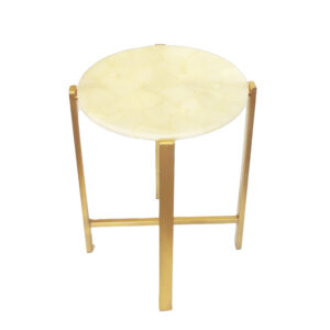 Quartz Accent Table with Gold Base